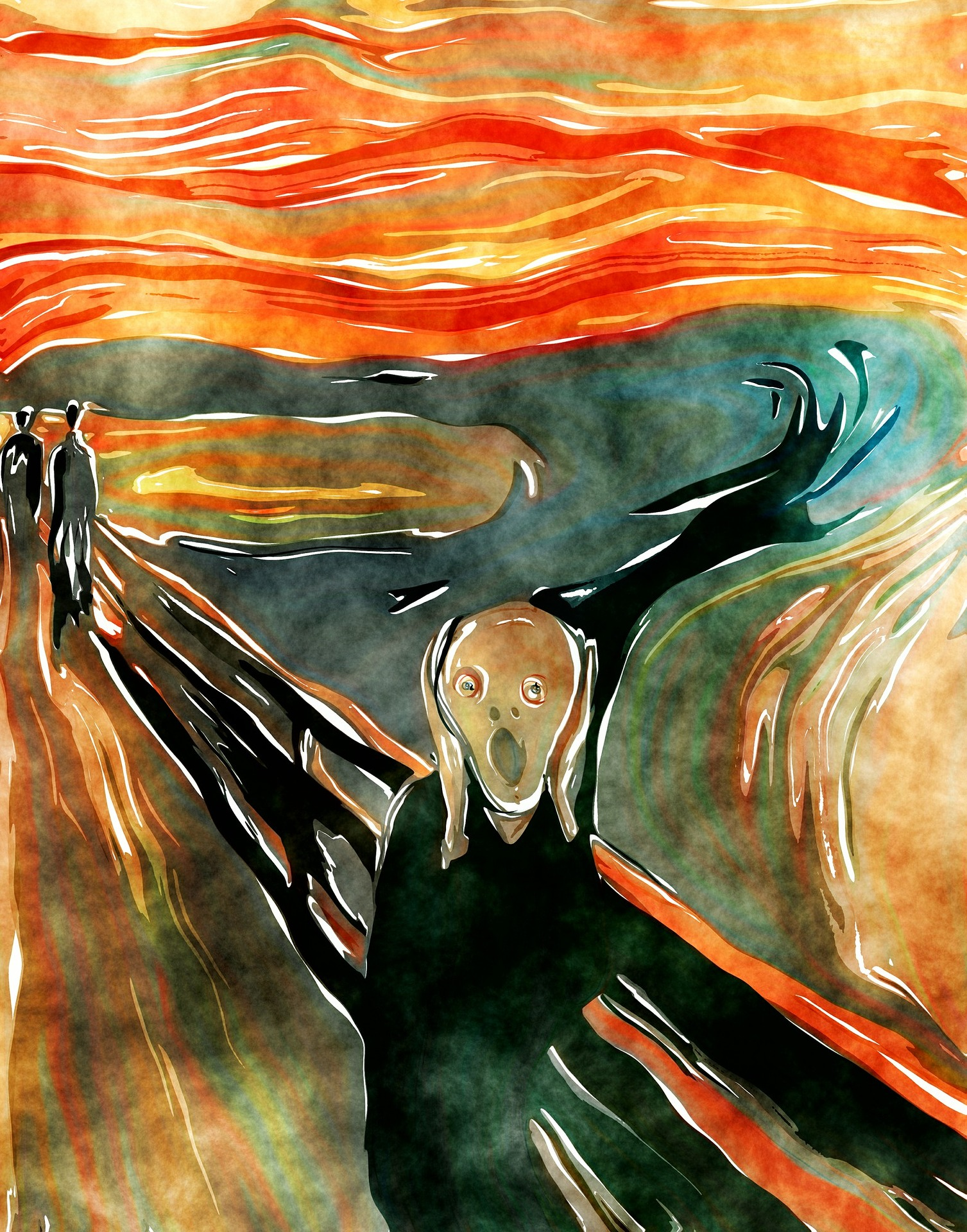 watercolour-the scream